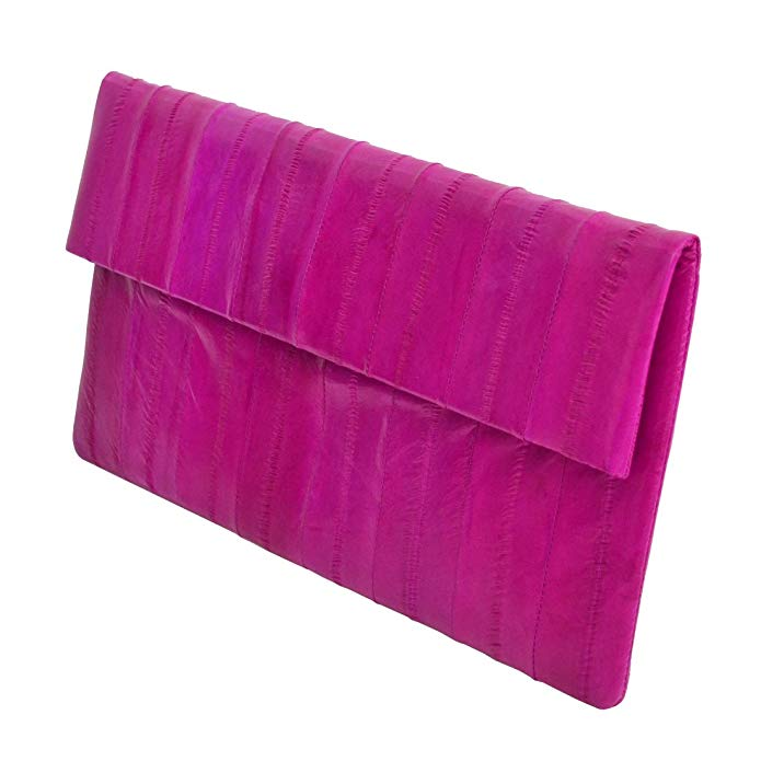 Slim Simple Genuine Eel Skin Leather Folding Evening Clutch Bag Handbag