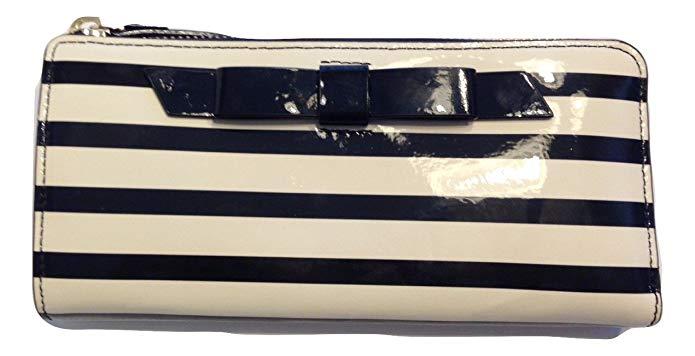 Kate Spade Chelsea Park Patent Stripe Nisha Clutch Black/Cream WLRU1913