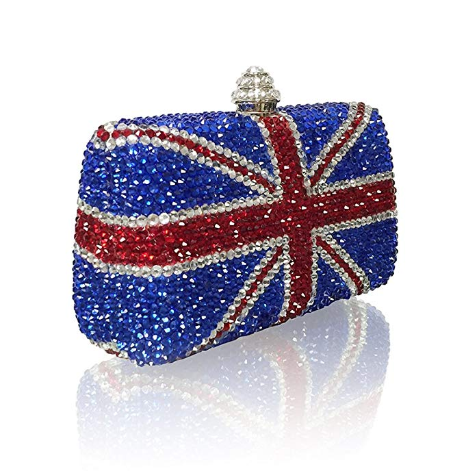 Marc Defang New York Women's British Union Jack Crystal Couture Clutch