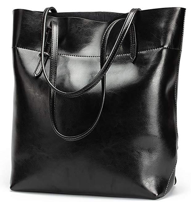 QZUnique Women's Genuine Leather Fashion Simple Style Purse Shoulder Bag
