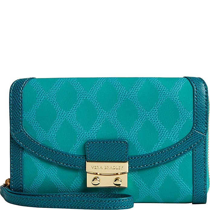 Vera Bradley Women's Ultimate Wristlet Ikat Diamonds Teal Clutch