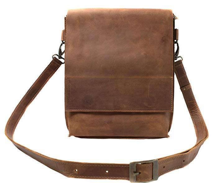 InCarne Unisex Leather Shoulder Bag Handbag Tote Unisex Soft Leather Satchel Crossbody (07010)