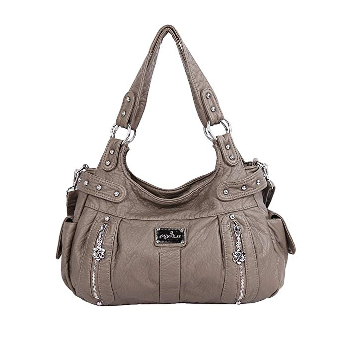 Angelkiss Washed Leather Purses Shoulder Bags Two Main Zipped Compartments Large Capacity Handbags