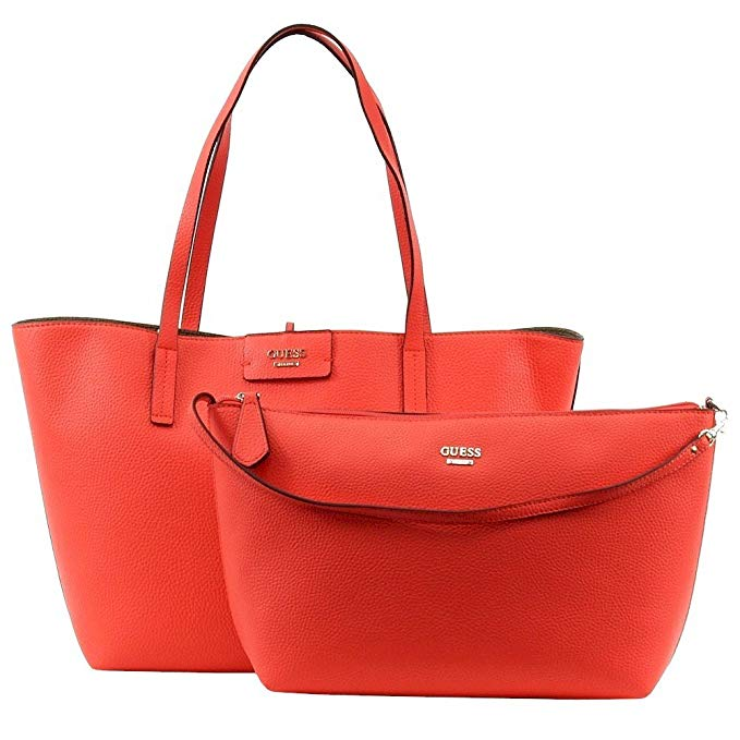 Guess Womens Bobbi Faux Leather Reversible Tote Handbag Red Large