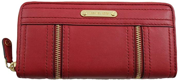Michael Kors Dark Red Leather Zip Around Continental Moxley Wallet
