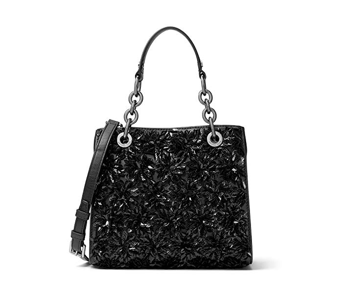 MICHAEL Michael Kors Womens Flora Burst Leather Satchel Handbag Black Small