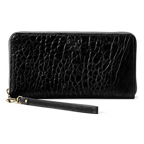 Will Leather Goods Black Italian Lambskin Imogen Checkbook Clutch