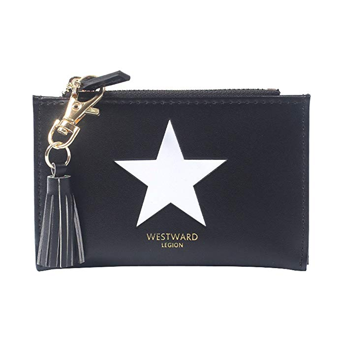 Kukoo Mini Bifold Leather Mini Wallet Star Tassel Clutch Bag Card Holder Coin Purse