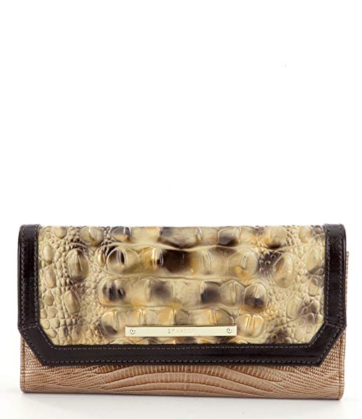 Brahmin Summer Tortoise Ventana Leather soft checkbook wallet