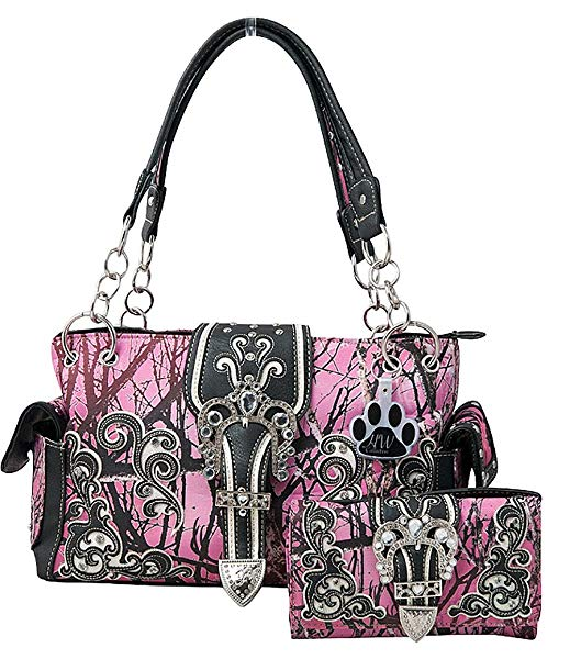HW Collection Western Camo Camouflage Rhinestone Buckle Concealed Carry Handbag and Crossbody Wallet
