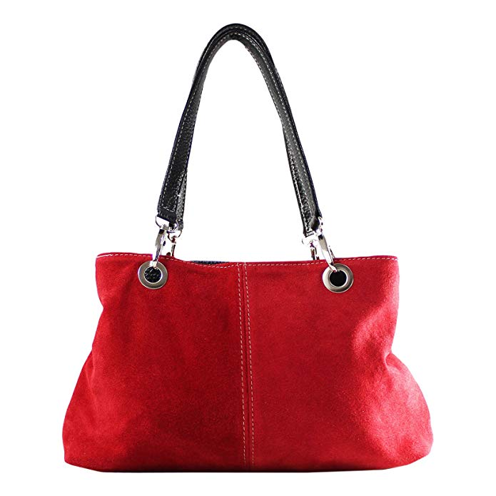 Chicca Borse Woman Handbag in Genuine Suede Leather Made in Italy