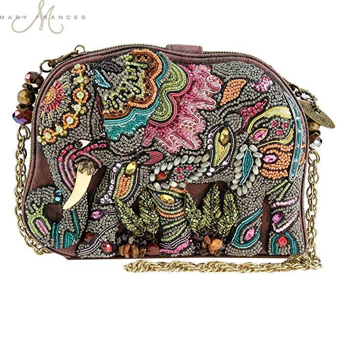 Mary Frances Elephant Dance Multi Color Beaded Evening Handbag